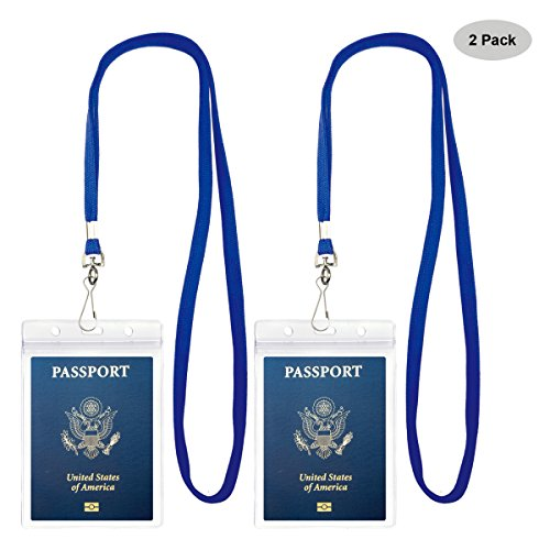 - Passport Badge Holders with Extra PVC ID Card Holder and Woven Lanyards Ideal for Cruise and Vacation by Cypes (2Pack Blue Lanyards)