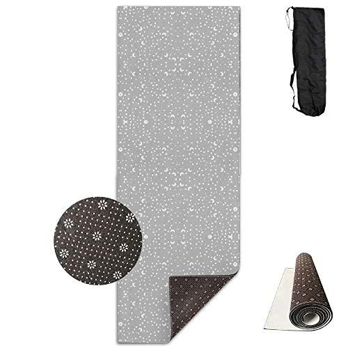 GFKIH Premium Print Yoga Mat - Baby Scribble Moon Stars White On Grey Giftwra Model - Fitness Carrying Strap & Bag ()