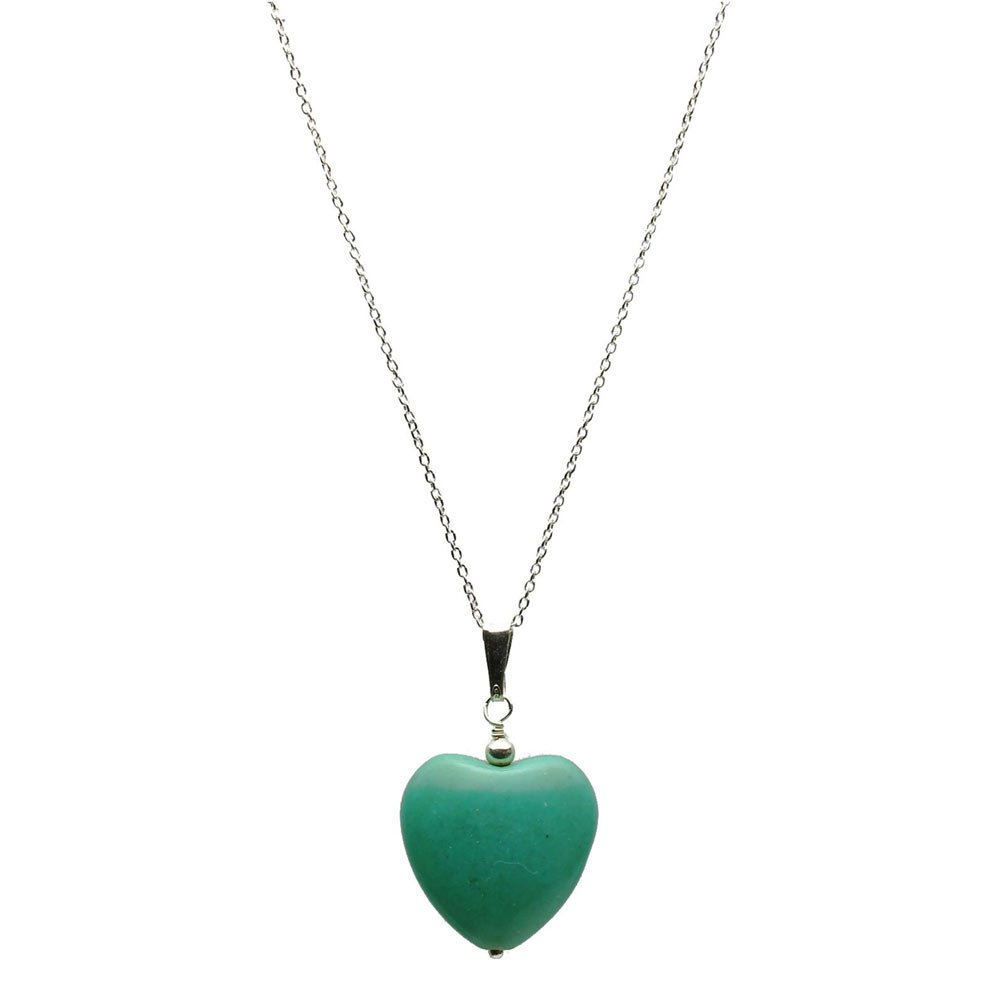 Joyful Creations Simulated Turquoise Stone Heart Pendant Sterling Silver Cable Chain Necklace 24''