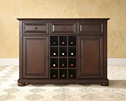 Crosley Furniture Alexandria Buffet Server/Sideboard Cabinet with Wine Storage, Vintage Mahogany