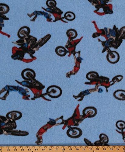 Motocross on Blue Sports Dirt Bike Fleece Fabric Print by the Yard (s471s) (Fabric Dirt Bike Fleece)