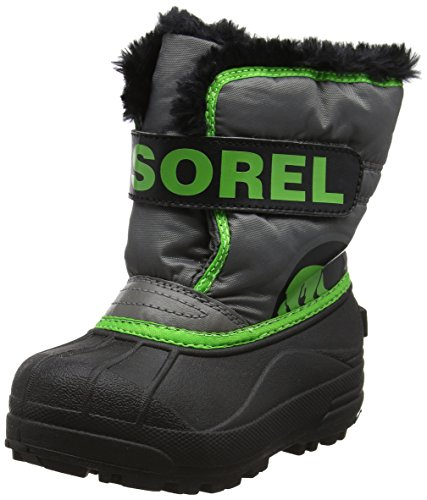 Sorel Unisex-Kids Children's Snow Commander, Quarry, Cyber Green, 12 M US Little Kid