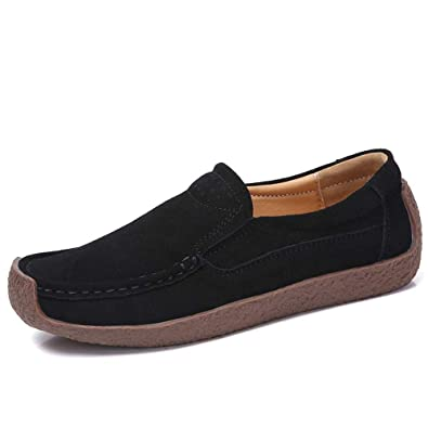 4f234910492 GSJJUP Women Casual Suede Loafers Comfortable Moccasins Driving Loafers  Slip on Flat Shoes GSLF3099-Black
