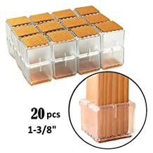 "TEKEFT Set of 20 Chair Leg Wood Floor Protectors Flexible Silicone Square 1-1/8"" to 1-3/8"" Clear"