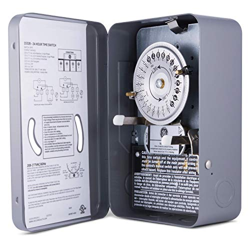 GE 24-Hour Indoor Heavy Duty Mechanical Water Heater Timer Switch - 240 VAC - NEMA 1-Rated Metal Enclosure 40 Amp, Lockable and Tamper Resistant, Double Pole Single Throw, 15328 240v 1 Phase 40 Amps
