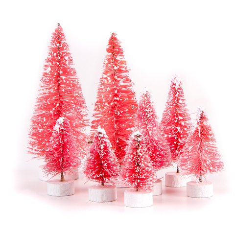 Darice 1616-29P Miniature Pink Sisal Trees, Frosted, Assorted Sizes, 8 Pieces, Red