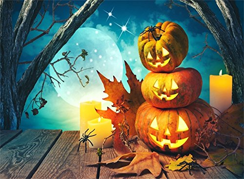 Leowefowa 7X5FT Happy Halloween Backdrop Pumpkin Lamps Shining Moon Night Backdrops for Photography Spider Jungle Forest Scary Vinyl Photo Background Leaves Retro Wood Floor Costume Party Studio Props ()