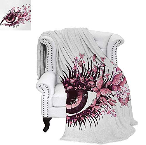 (Throw Blanket Fairy Female Eye with Butterflies Eyelashes Mascara Stare Party Makeup Warm Microfiber All Season Blanket for Bed or Couch 62