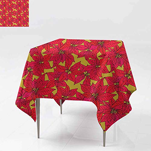 (Beihai1Sun Resistant Table Cover,Seamless Background with Poinsettia,Table Cover for Dining 36x36 Inch)