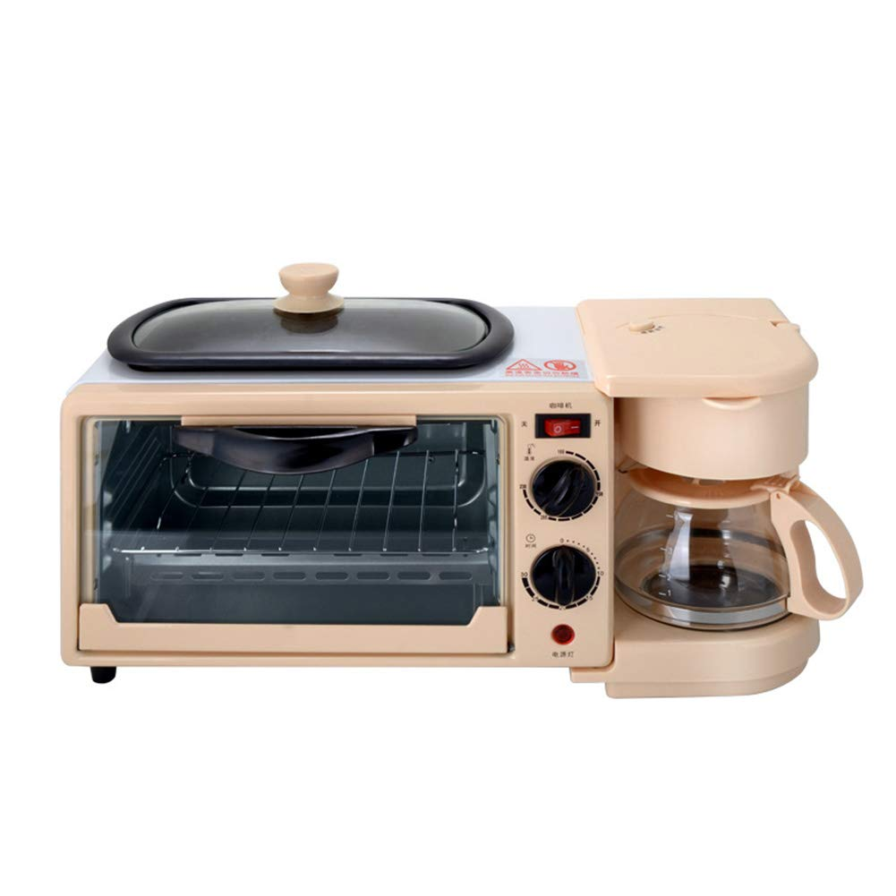 JINJN Retro 3-in-1 Multifunction Breakfast Hub (Mini Toaster Oven, Non-Stick Griddle Pan, Multi Cup Coffee Maker)