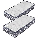Underbed Storage Bags Containers for Comforter,Large Breathable Zippered Clothes Blanket Organizer Bins,Tidy Up Your Closet Shelves with Clear Window,Sturdy Metal Zippers ,4 Strong Handles set of 2