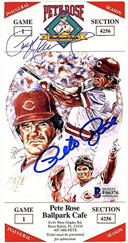 Pete Rose Autographed Signed 3X6 Hit King Dinner Ticket Beckett Authentic