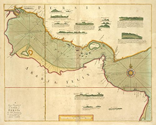 Historic 1702 Map   A large draught of the GOLF of PERSIA   Persian Gulf   The sea-atlas : containing an hydrographical description of most of the sea-coasts of the known parts of the world.