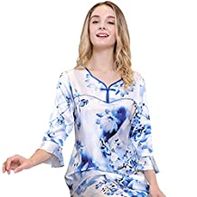 Chesslyre Women's Chinese Knot Button V-neck Mulberry Silk Printing Pajamas Set