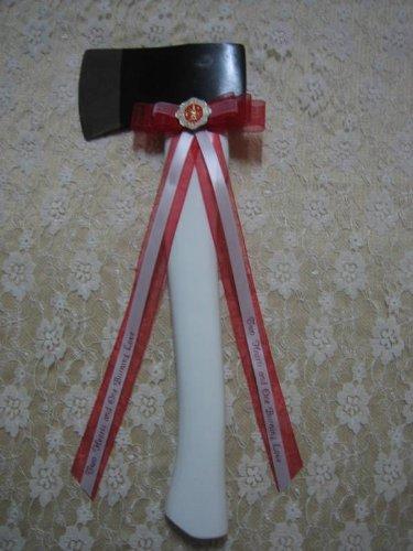 Wedding Parrty Reception Cermony Fireman white Axe Cutting Cake]()