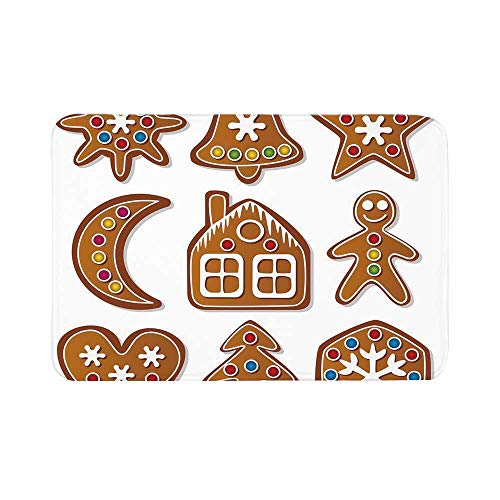 C COABALLA Gingerbread Man Durable Door Mat,Set of Graphic Gingerbread Sugar Biscuits with Colorful Dots and Bonbons for Living Room,15.7
