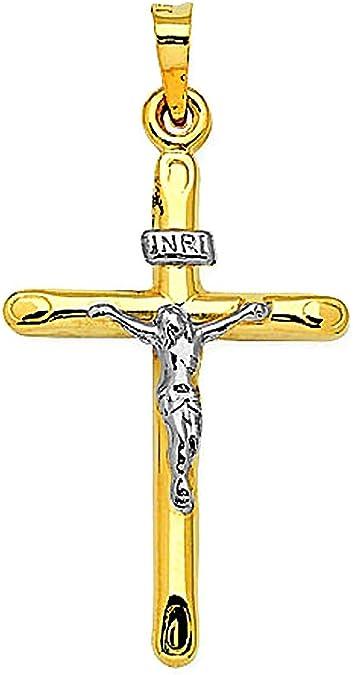 14K Yellow Gold 3D Style Hollow Crucifix Cross Pendant