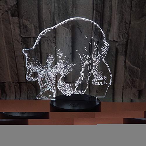 JYHW Lámpara Polar Bear 3D Lámpara 7 Cambio de color Lámparas de ...