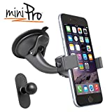 iBOLT miniPro Window/Dash car Mount for iPhone X/XS/XS MAX iPhone 8, 8 Plus, 7 Samsung Galaxy S9 Edge S8 Note 9 Works with Protective Cases.