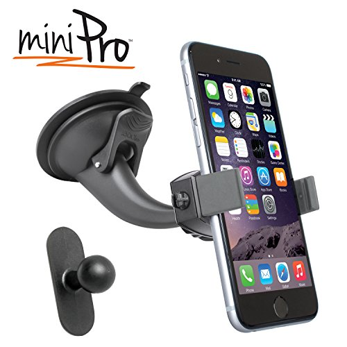 iBOLT miniPro Window / dash car mount for iPhone 5, 5c, 5S, iPhone 6, 6s, 7 Samsung Galaxy S6 edge S5 S4, Note 3, 4, 5 & HTC One M8, works with protective cases.