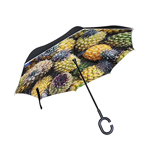 TIANYUSS Double Layer Inverted Pineapple Italy Vacation Umbrellas Reverse Folding Umbrella Windproof Uv Protection Big Straight Umbrella For Car Rain Outdoor With C-shaped Handle by TIANYUSS