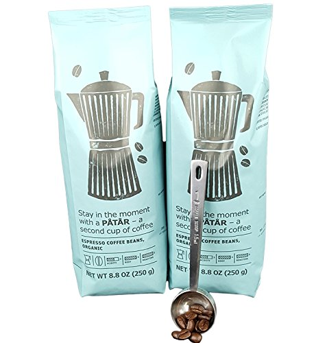 IKEA Roasted Whole Espresso Coffee Beans Bundle - Organic - 8.8 Oz Each (Pack of 2 - Total 17.6 oz) With Stainless Steel Measuring Coffee Spoon