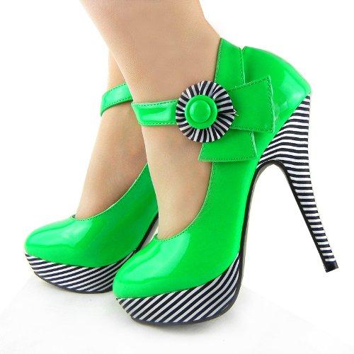 Lf30404 De Chaussures Histoire Fleurs Stiletto Cheville La Vert Sexy Pompes forme À Bande Bride Montrer Plate vSU6Uq