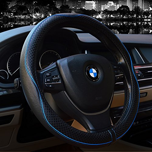 Steering Wheel Covers Universal 15 inch - Genuine Leather, Breathable, Anti Slip & Odor Free(Black with Blue Lines) (With Steering Cover Wheel Blue)