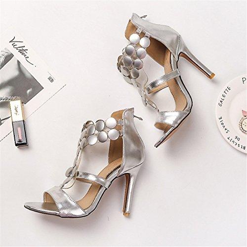 sandali signore signore moda semplice sexy super sandali tacco sandali alto i 44 argenteo wOvxwaq1