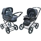 Roan Rocco Classic Pram Stroller 2-in-1 with Bassinet and Seat Unit 6 (Six) Colors - Graphite