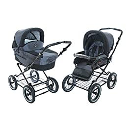 Baby Stroller for Infant Newborn and Toddler Roan Rocco Classic Pram Stroller 2-in-1 with Bassinet Separate Seat & Big air-inflated Wheels – Graphite