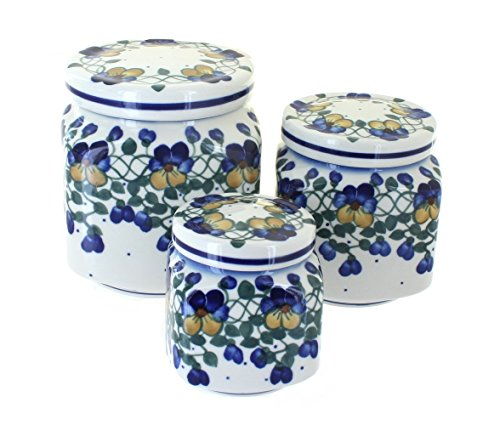 WR Unikat Blue Rose Polish Pottery Pansies 3 Piece Canister Set