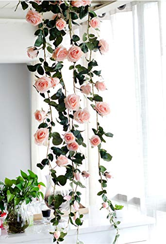 Pink Vine Floral (Get Orange 72 Inch rose Garland Artificial Rose Vine with Green Leaves Flower Garland For Home Wedding Decor (1, Pink))