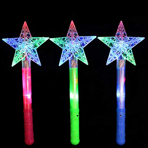 Bluelans Funny LED Flashing Fairy Magic Star Wand Princess Glow Stick Light Up Toy Xmas Gift for Girls Girl Party Favors Party Bag Filler Chistmas Stocking Fillers Star ()