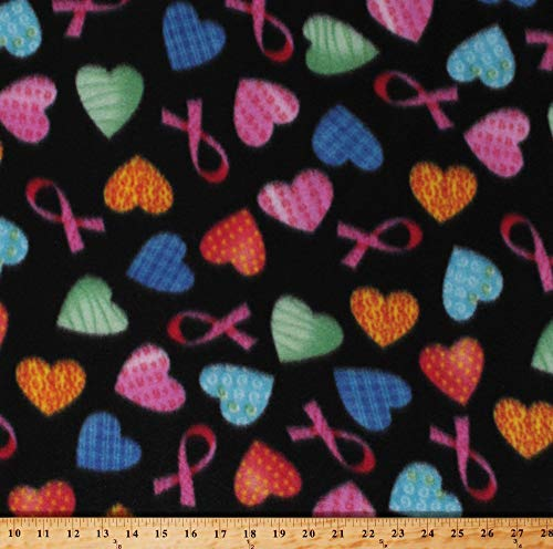 (Fleece Pink Ribbons Breast Cancer Awareness Multi-Colored Hearts on Black Fleece Fabric Print by The Yard (5935A-7B-hearts))