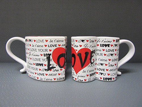 I Love You Ceramic Coffee Mugs Set of 2, Couples Coffee Mugs with Heart Shape Design Perfect Gift for Bride and Groom, Wedding, and Anniversary Present for Husband and Wife, -