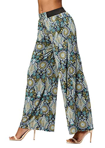 Palazzo Pants with Pockets for Women - Many Colors and Prints - High Waisted Wide Legged - Oasis - One Size - LG237X205