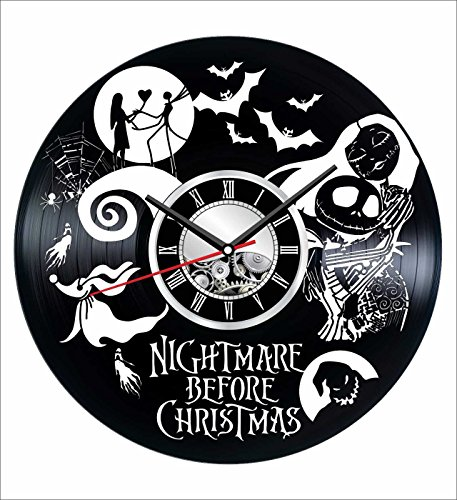 Nightmare Before Christmas Wall Clock Made of Vintage Vinyl Record – Stylish clock and Amazing Gifts Idea Unique Home Decor Personalized Presents for Men Women Kids Great for Living Room Bedroom