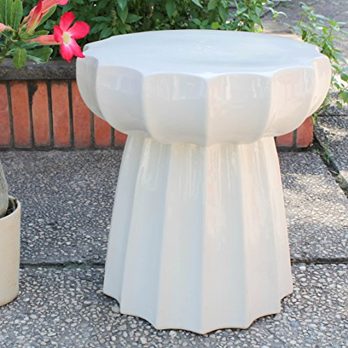 International Caravan OPG-066-AW-IC Furniture Piece Antique White Round Scalloped Ceramic Garden Stool, White/Off-White