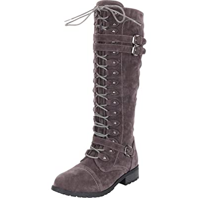 Cambridge Select Women's Lace-Up Strappy Knee High Combat Stacked Heel Boot: Shoes