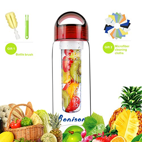 Red 23 oz Sporty Tritan Fruit Infuser Water Bottle, Sports Bottle, School Bottle, Leak Proof, with Handle, for Fruit, Juice, Iced Tea, Lemonade & Sparkling Beverages - with 2 Gifts