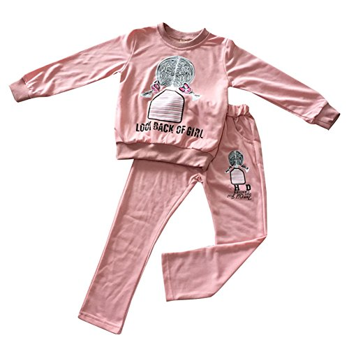 FTSUCQ Girls Pullover Jacket and Pants Sets,Pink 130