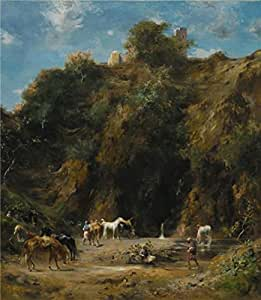 The Linen Canvas of oil painting 'Eugene Fromentin,A Ravine Souvenir of Algeria,1874' ,size: 20x23 inch / 51x58 cm ,this Reproductions Art Decorative Canvas Prints is fit for Bathroom decoration and Home gallery art and Gifts