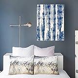 Aika Designs Canvas Prints Wall Art Tied Indigo Tie Dye Batik Beauty Fashidigo Fashion Nature Texture 16 x 16 Inches Modern Painting Decor Stretched Wooden Framed Wrapped Artwork