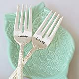 Lover/Lovey - Stainless Steel Stamped Fork Set, Stamped Wedding Silverware for Wedding Cake