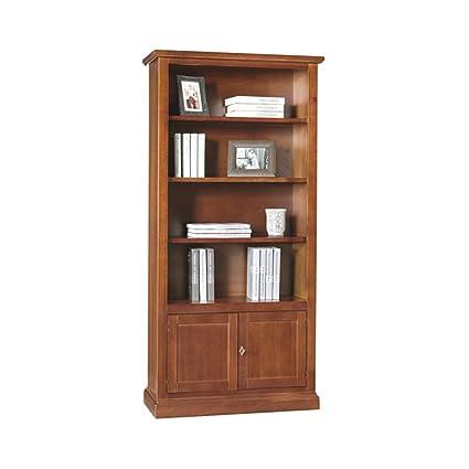Giò Luxury Libreria, Stile Classico, In Legno Massello E Mdf Con Rifinitura  In Noce Lucido - Mis. 90 X 41 X 186