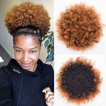 Synthetic Short Afro Kinky Curly Pony Tail High Puff Afro Ponytail Drawstring Ponytail 1b 30