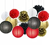 Sopeace Party Decoration Kit Black Red Gold Tissue Paper Pom Poms Flowers for Birthday Wedding Christening Frozen Theme Party Decorations for Adults Boys Girls