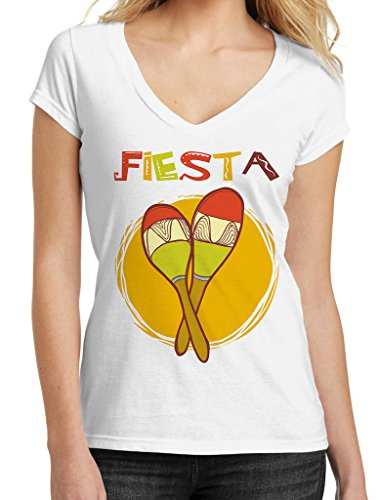 Mexican Fiesta Maracas Tee B581 Junior's PLY White V-Neck T-Shirt (Exclusive Maraca)