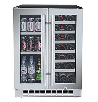 Titan 24 Inch Built-In French Door Wine and Beverage Refrigerator